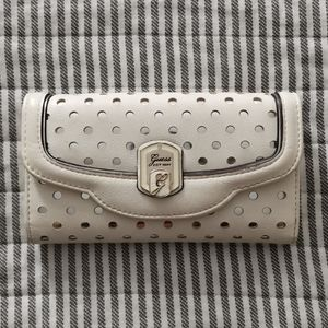 Guess white faux leather wallet